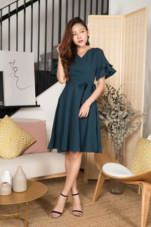 Belina Wrapped Dress in Teal