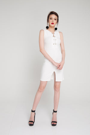 Madie Military Dress in White