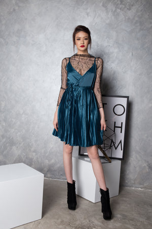 Luxe Satin Pleated Dress in Teal