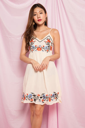 Liam Embroided Dress in Cream