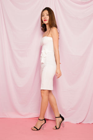 Lynde Basic Bustier Dress in White