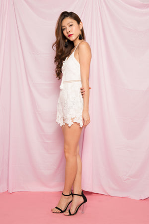 (BO) Lexura Crochet Romper in White