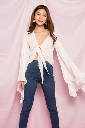 Avelyn Bell Ribbon Top in White