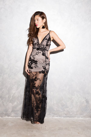 LUXE - Glorai Embroided Gown Dress in Black