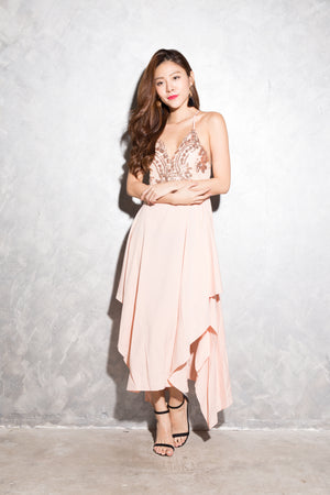 LUXE - Lera Embroided Gown Dress in Pink