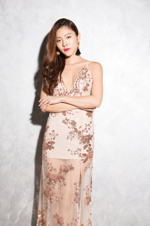 LUXE - Glorai Embroided Gown Dress in Nude