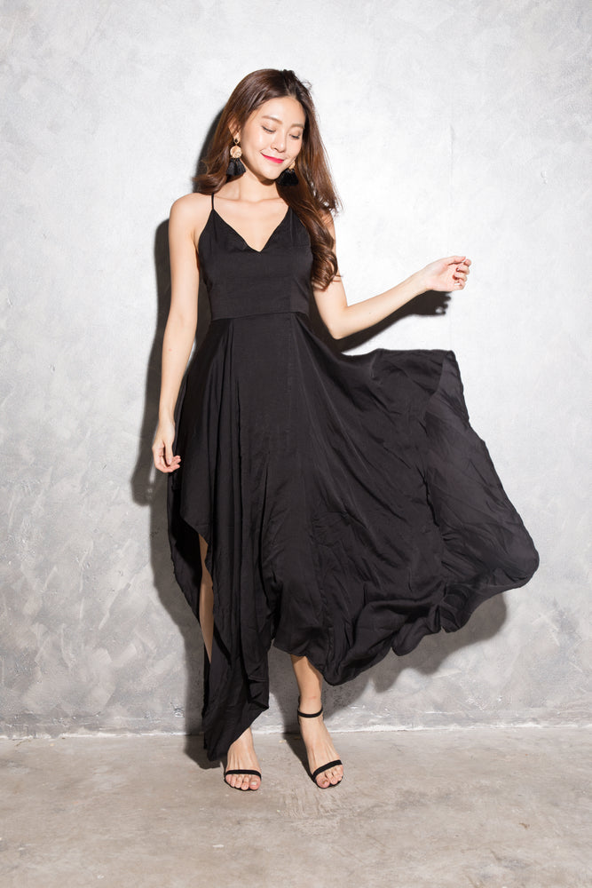 LUXE - Vlera Suede Gown Dress in Black