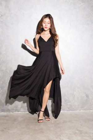 Load image into Gallery viewer, LUXE - Vlera Suede Gown Dress in Black