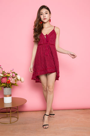 Annabella Crochet Dress in Burgundy