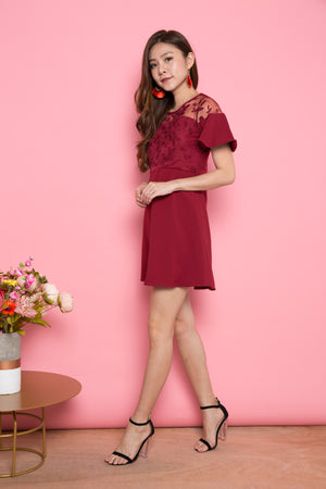 Berlyn Crochet Dress in Burgundy