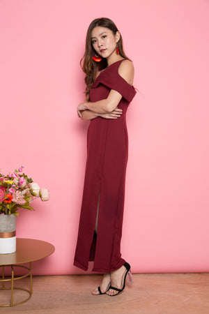LUXE - Vaelra Offsie Gown Dress in Burgundy
