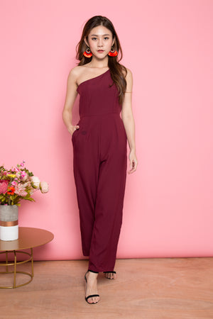 LUXE - Lesiam Toga Jumpsuit in Burgundy