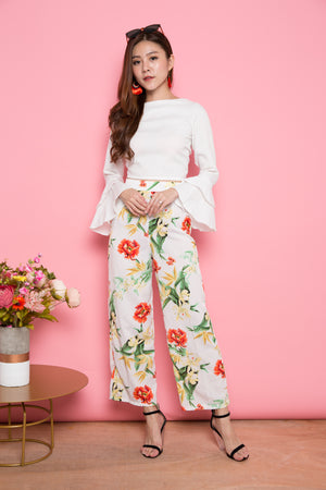 Wlenna Floral Pants in White