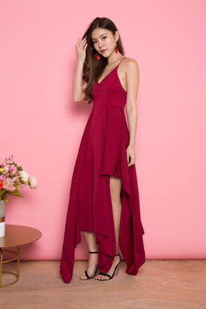 LUXE- Vlera Suede Gown Dress in Burgundy