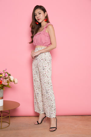 Dweanna Printed Floral Pants in Cream