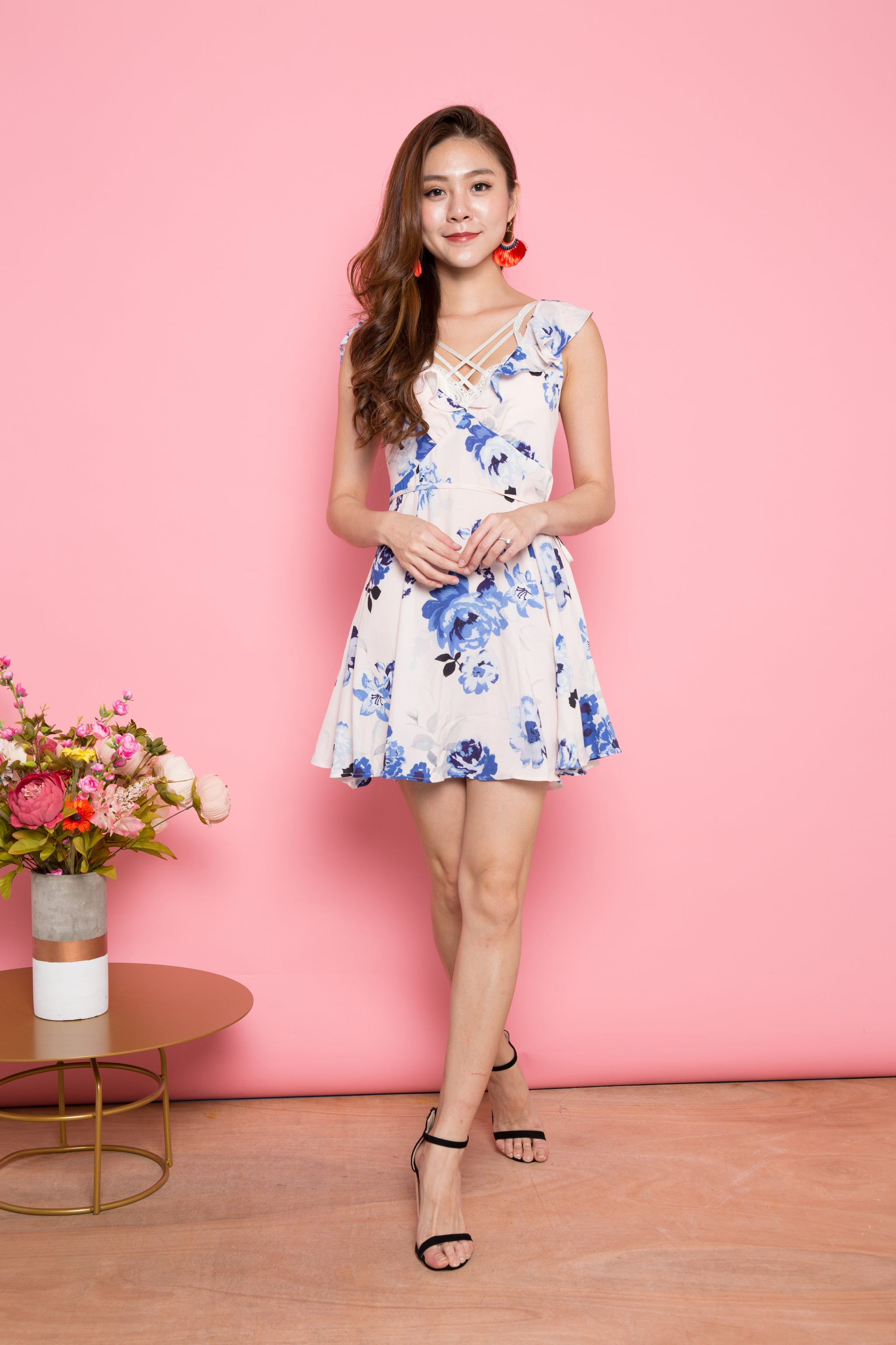 85cc71a2b0 Kendra Floral Flutter Sleeves Dress in Blue