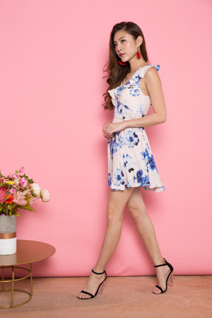 Kendra Floral Flutter Sleeves Dress in Blue