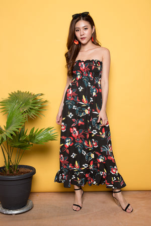 Kerei Floral Maxi Dress in Black