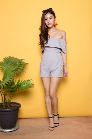 Greyxia Off Shoulder Romper in Grey