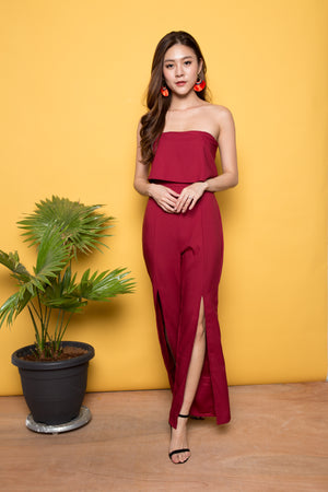 Lovella Slit Bustier Jumpsuit in Burgundy