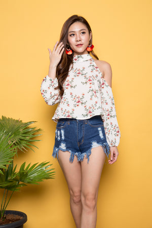 Milly Off Shoulder Floral Top in White