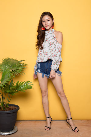 Load image into Gallery viewer, Milly Off Shoulder Floral Top in Blue