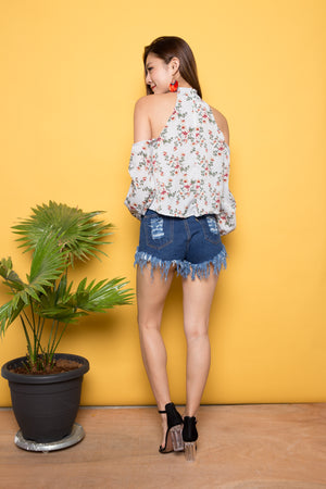 Milly Off Shoulder Floral Top in Blue