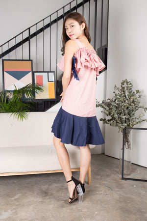 Jelina Duo Tone Dress in Pink