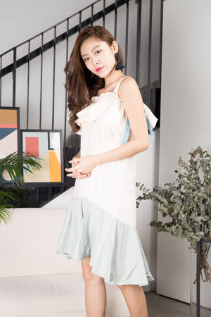 Jelina Duo Tone Dress in White