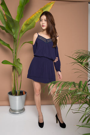 Load image into Gallery viewer, Stephanie Crochet Romper in Navy