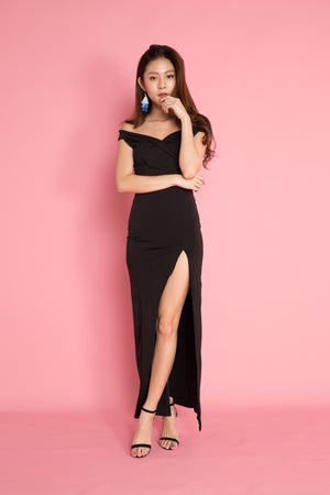 Miesa Slit Gown Dress in Black