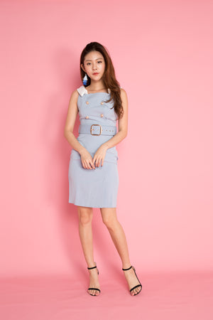 Lindae Corporate Dress in Light Blue