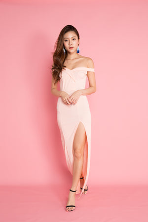 Miesa Slit Gown Dress in Pink