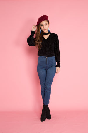 Feisa Choker Top in Black