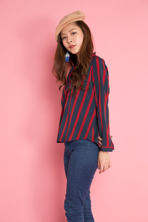 Load image into Gallery viewer, Jeasae Stripes Top in Red