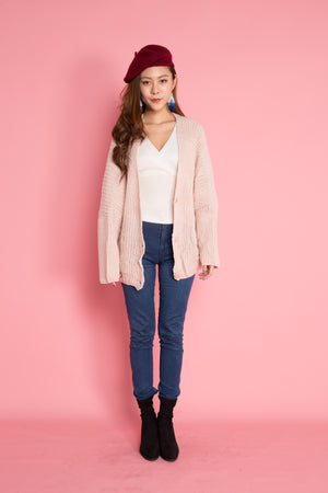 Abriella Oversized Cardigan in Pink