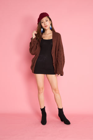 Abriella Oversized Cardigan in Rust