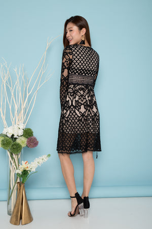 LUXE - Akerisa Crochet Long Sleeve Dress