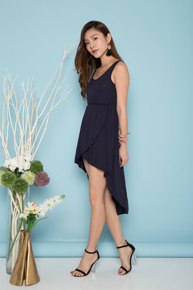 Load image into Gallery viewer, Alondra Asymmetrical Dress in Navy