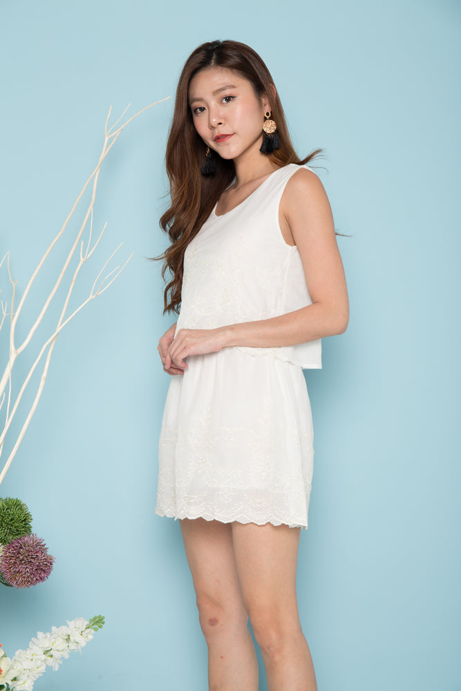 Load image into Gallery viewer, Kaleigh Embroided Dress in White