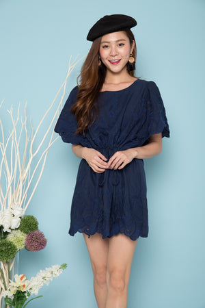 Demi Embroided Dress in Navy