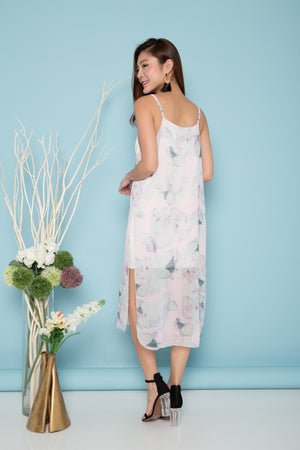 Audrey Spag Cami Floral Dress in Grey