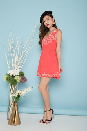 Cora Embroided Dress in Pink