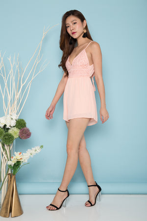 Kaiya Embroided Crochet Romper in Pink