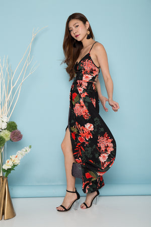 LUXE - Colette Floral Maxi Dress in Black