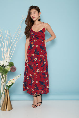 LUXE - Charleigh Floral Maxi Dress in Burgundy