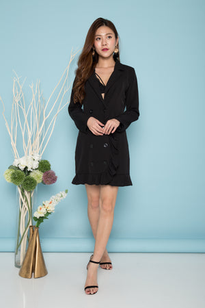 Andiea Button Down Dress in Black