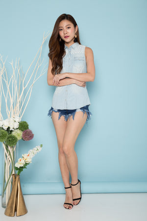Addysein Denim Crochet Top
