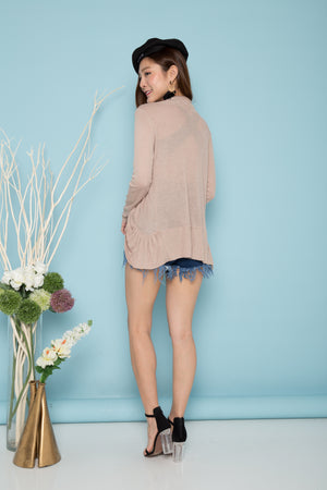 Alina Fitted Cardigan in Khaki