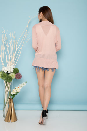 Alina Fitted Cardigan in Pink